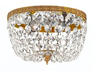708-OB-CL-MWP Richmond 2LT Flush Mount, Olde Brass Finish with Clear Hand Cut Crystal