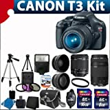Canon EOS Rebel T3 12.2 MP CMOS Digital SLR with 18-55mm IS II Lens and EOS HD Movie Mode With Canon EF 75-300mm f/4-5.6 III Telephoto Zoom Lens + 58mm 2x Professional Lens +High Definition 58mm Wide Angle Lens + Auto Flash + Uv Filter Kit with 24GB Complete Deluxe Accessory Bundle