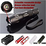 hkbayi UltraFire E17 2000 Lumen Flashlight Led Cree T6 XM-L Camping Torch Flash Light The Lamp With Mount Holder Set + 2pcs 18650 Li-ion Battery 4000mah Ultrafire 3.7v Batteries + 18650 Dual Charger