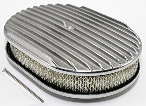 Assault Racing Products A6020-3 12 x 2 Oval Full Finned Polished Aluminum Air Cleaner Assembly 12x2 Retro