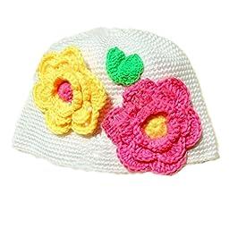 Baby Girls Handmade Knitted Hat Infant Toddler Flowers Beanie White Cap