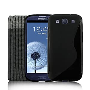 Samsung Galaxy S3 SIII Black S-Line Gel Silicone Case + Screen Protector & Sock