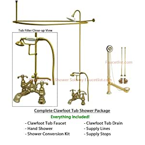 Polished Brass Clawfoot Tub Faucet Shower Kit With