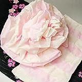 新色追加 越前屋独占オリジナル お子様フワフワ天使のフラワー結び帯 白×ピンク 子供兵児帯ボリューム作り帯 浴衣帯