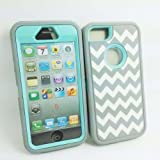 DELUXE Chevron Wave Hybrid Rubber Silicone Cover Case For iPhone 5 5S, Chevron Wave Print Hard Soft High Impact Hybrid Armor Case Combo for iPhone 5 5S, Hybrid 3 PIECE ZEBRA HARD PROTECT CASE COVER SKIN FOR iPhone 5 5S (Gary +Light Blue with White Wave) Reviews