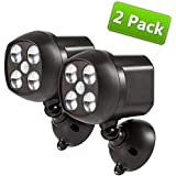 {New Version 600 Lumens 4 Led} Ultra Bright Wireless Motion Sensor Spotlights, Weatherproof Motion Indoors / Outdoor Lights, Powered By 4pcs D-cell Batteries (Not Included) (GD-924, 2-Pack)