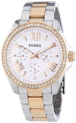 Fossil AM4496 - Reloj para mujeres, correa de acero inoxidable bicolor
