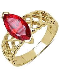 Suraabi 1.92CTW Orange Cubic Zirconia 14K Yellow Gold Plated Brass Ring For Women