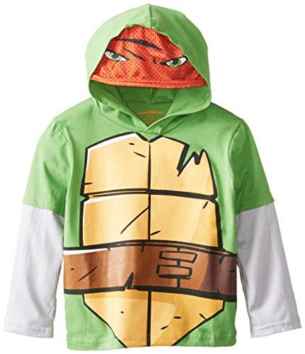 Nickelodeon Little Boys' Ninja Turtle Hooded Top, Green/Grey, 5 back-1075582