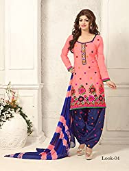 ARAJA NEW DESIGNER COLLECTION GOOD LOOKING LIGHT PINK&NEVY BLUE COLOR COTTON EMBROIDERED UNSTICHED FESTIVAL,MARRIAGE AND PARTY WEAR PATIYALA HAND EMBROIDERED DRESS MATERIAL