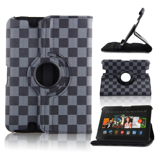 Eleoption™ Grey Lv Grid Pu Leather Case Cover In 2013 Kindle Fire Hd 7 Inch With 360 Degree Rotating Stand And Magenetic Functions
