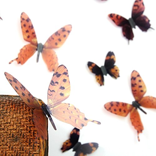 Amaonm 18PCS 3D Removable Transparent PVC Butterfly Wall Decals Butterflies Wall Stickers & Murals Wallpaper Wall Treatments Stickers Home Decorations Art Decor for Kids Gilrs Living Room Bedroom Wallpops Decal (Brown) (Brown Butterfly Decals compare prices)