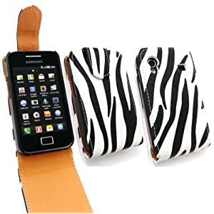 FLASH SUPERSTORE SAMSUNG S5830 GALAXY ACE ZEBRA BLACK AND WHITE FLIP CASE/COVER/POUCH + SCREEN PROTECTOR