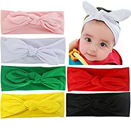 6pcs Baby Girls Cotton Turban Knot Rabbit Hairband Headwear Toddler Bow Headbands Head Wrap