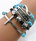 Twinkle Handmade Infinity Cross Fox Head Believe Charm Friendship Gift Leather Bracelet thumbnail