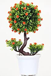 Home decor artificial flowers with pot best quality realistic natural look faux flower arrangement for home decoration and gifts Om potters red crochet flowers on a green tree plant pot