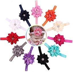 Qandsweet Baby Girl\'s Headbands Inlay Zircon Crystal Flower (11 Pack)