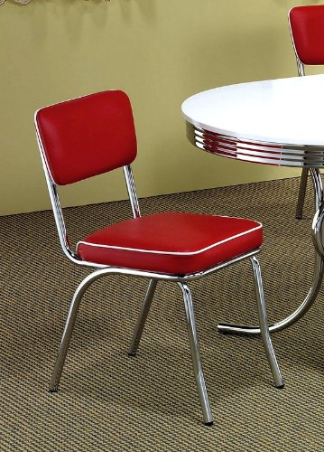 Set of 2 Retro Nostalgic Style Red Finish Dining Chairs