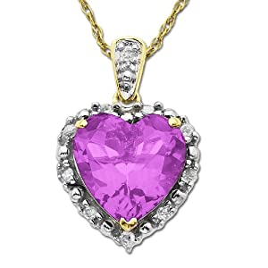 10k Yellow Gold 10mm Heart-Shaped Created Pink Sapphire and Framed Diamond-Accent Pendant Necklace (1/10 cttw, I-J Color, I2-I3 Clarity), 18""