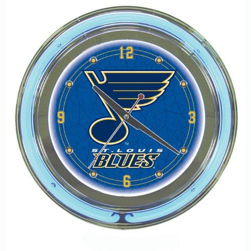 NHL St. Louis Blues Neon Clock - 14 inch Diameter - Game Room Products Neon Clocks NHL - Hockey