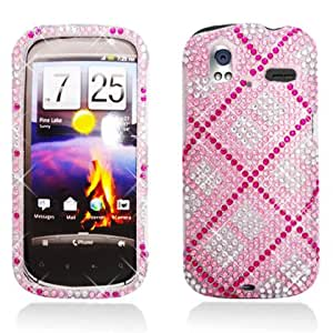 Full Diamond Bling Hard Shell Case for HTC Amaze 4G [T-Mobile] (Plaid - Pink)