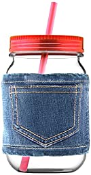 Asobu Mason Canning Jar in Jeans with Lid and Straw- Plastic, Red
