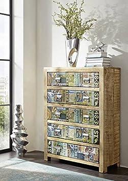 Mangoholz massiv Holz Möbel Vintage lackiert Kommode Massivmöbel vollmassiv Holz mehrfarbig Detroit #38