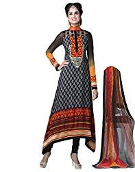 Inddus Stylish Gray Embroidered French Crepe Semistitched Salwar Kameez with Chiffon Dupatta