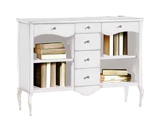 CLASSICO libreria Shabby Chic bianca mobile con sportelli cassetti ripiani 120x36x87 1285