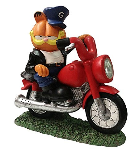 Woods International Garfield The Cat on Motorcycle LED Solar Lighted Statue