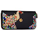 3d Handmade High-end Crystal Rhinestone Bling Peacock Pattern All-over Crystal Zip Around Continental Wallet Clutch