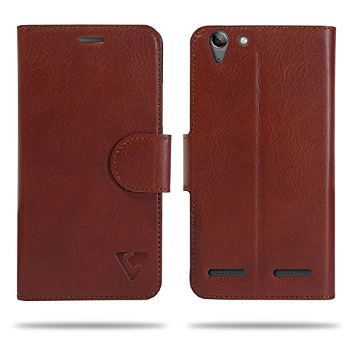 Cool Mango Compact Flip Cover for Lenovo K5 Plus - 100% Premium Faux Leather Flip Case for Lenovo Vibe K5 Plus with 360 Degree Stitching, Magnetic Lock, Card Currency Slot (Mocha Brown)