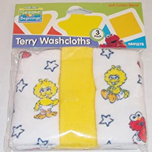 Sesame Street Beginning 3 pack Terry Baby Infant Toddler Washcloths Baby Elmo, Baby Cookie Monster or Baby Big Bird - Assorted Styles