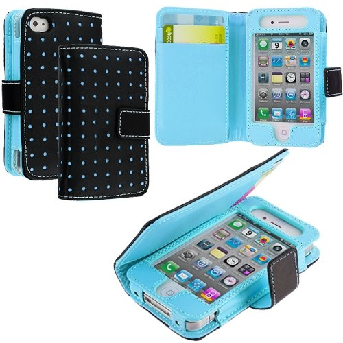 Cell Accessories For Less (Tm) Baby Blue Dots Leather Wallet Pouch Case Cover With Slots For Apple Iphone 4 / 4S + Bundle (Stylus & Micro Cleaning Cloth) - By Thetargetbuys front-984654