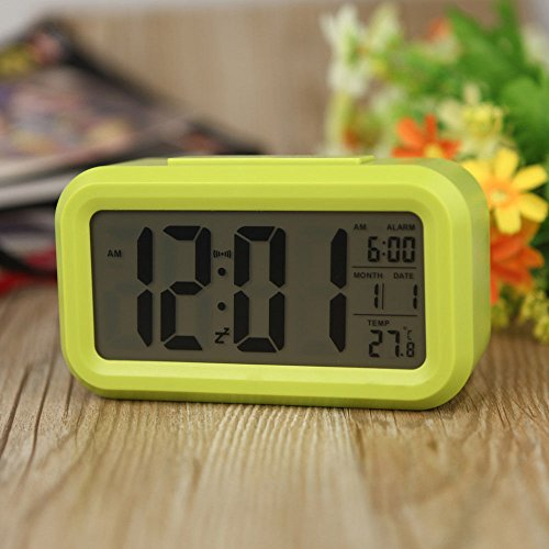 Amyove Snooze Electronic Digital Alarm Clock LED Backlight Light Control Thermometer Green