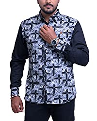 PP Shirts Men Cotton Casual Shirt ( Black XXXXL )