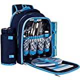 Search : Ferlin Picnic Backpack for 4 With Cooler Compartment, Detachable Bottle/Wine Holder, Fleece Blanket, Plates and Cutlery Set (Blue)