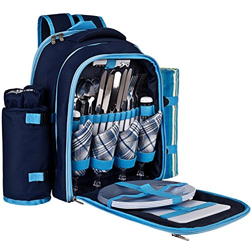 For Sale! Ferlin Picnic Backpack for 4 With Cooler Compartment, Detachable Bottle/Wine Holder, Fleec...