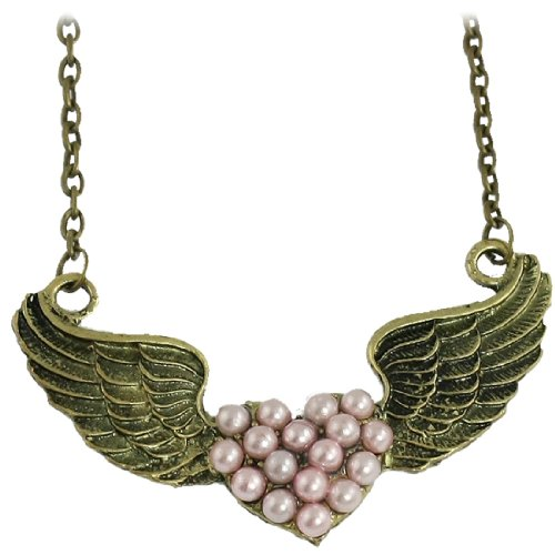 Rosallini Lady Pink Faux Pearl Decoration Heart Wing Shaped Pendants Necklace