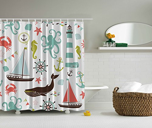 Sea Creatures Rope and Anchor Mint Octopus Coral Scorpion Turquoise Curtains Wheel Helm Crab Marine Lighthouse Seahorse Whale Shark Ocean Home Decor Bathroom Nautical Coastal Fabric Shower Curtain