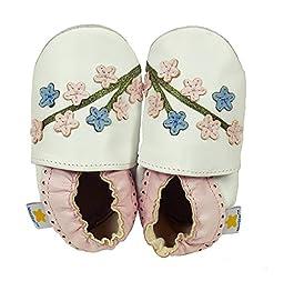 Ministar Girls Baby Infant Toddler Prewalker Leather Soft Sole - White Blossom Flower - XL 18-24 mo.