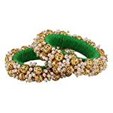 NeedyBee Girls Ethnic Handmade Beaded Green Bangles