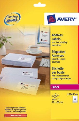 Avery - L7163-40 - 560 étiquettes d'adressage blanches adhésives personnalisables. 99,1x38,1mm. Impression laser