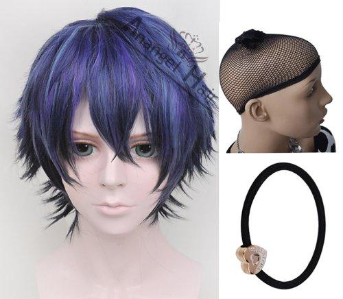 Free Hair Cpa + Black Bullet Cosplay Wig Dark Blue Anime Costume Wig