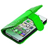 """myLife (TM) Harlequin Green - Crocodile Design - Textured Koskin Faux Leather (Card and ID Holder + Magnetic Detachable Closing) Slim Wallet for iPhone 5/5S (5G) 5th Generation iTouch Smartphone by Apple (External Rugged Synthetic Leather With Magnetic Clip + Internal Secure Snap In Hard Rubberized Bumper Holder + Lifetime Warranty + Sealed Inside myLife Authorized Packaging) """"ADDITIONAL DETAILS: This lightweight iPhone 5 and 5S wallet is made of durable and high quality synthetic leather. The leather itself is textured to prevent the wallet from slipping out of your hand while being handled. This wallet comes with a magnetic clasp."""""""