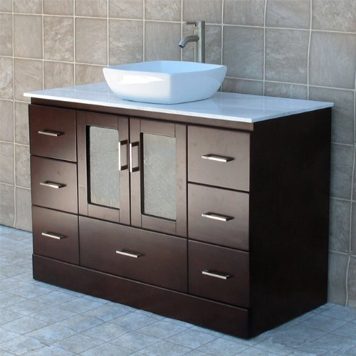 "48"" Bathroom Vanity Cabinet White Tech Stone (Quartz) Vessel Sink Faucet MC2"
