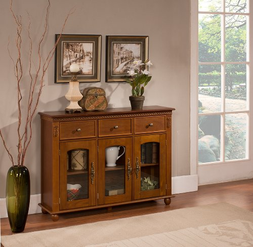 Kings Brand Furniture Wood with Glass Doors Console Sideboard Buffet Table with Storage, Walnut (Console In Furniture compare prices)