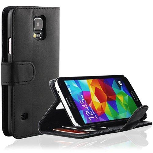EnGive Housse Etui Cuir PU Coque pour Samsung Galaxy S5 (noir)