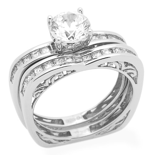 Sterling Silver Engagement Ring Wedding Ring 1.2ctw Cubic Zirconia Pincess Cut Accented Ring Set