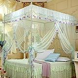 KAMIERFA Romantische Floral Randverzierung Bett Mueckennetz Moskitonetz mit Stuetzung Wasser